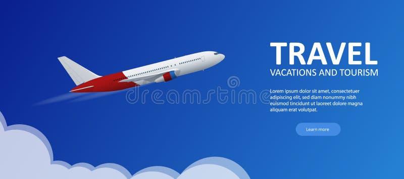 Fond de voyage et de tourisme Billets en ligne de achat ou de réservation Voyage, vols d'affaires dans le monde entier Vecteur pl illustration libre de droits