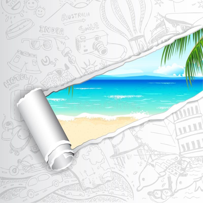 Fond de voyage pour la plage de mer illustration de vecteur