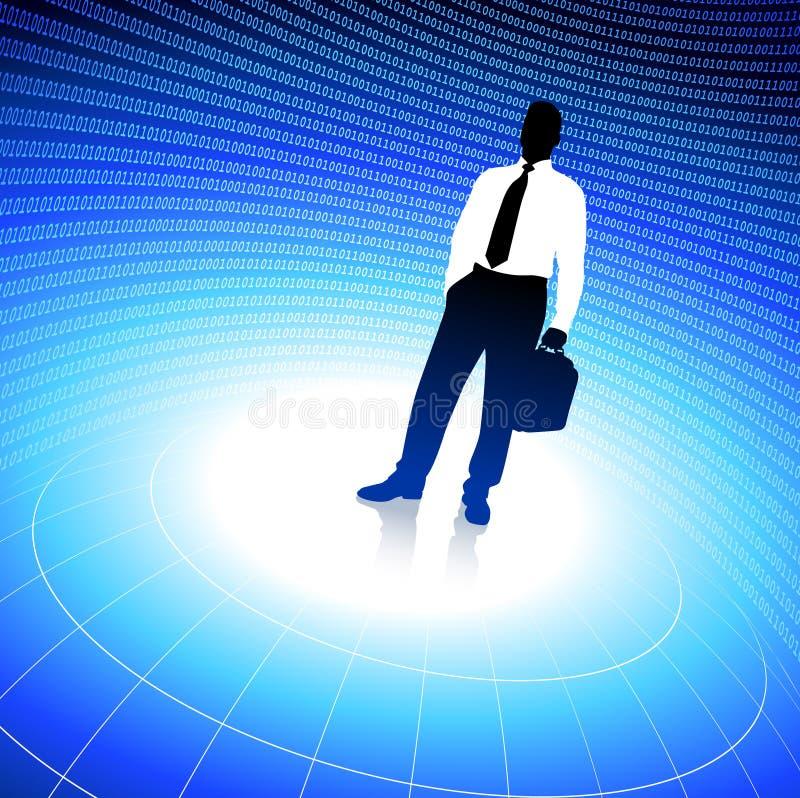 Fond de voyageur d'affaires avec le code binaire illustration libre de droits