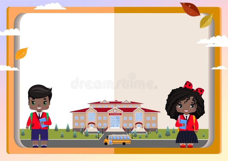 fond des écoliers de livres, de fille et de garçon avec un bouquet, école, autobus scolaire, feuilles d'automne illustration de vecteur