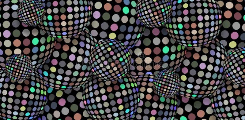 Fond des boules 3d de disco de mosaïque de miroir d'hologramme Illustration moderne conceptuelle de sphères d'argent de scintille illustration stock