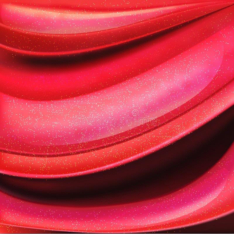 Fond des calomnies de rouge à lèvres, lustre rouge de lèvre, fond abstrait de cosmétiques Vecteur illustration libre de droits