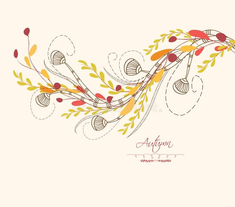 Fond des cartes de voeux de feuilles d'automne illustration de vecteur