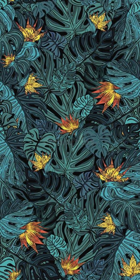 Fond des feuilles tropicales vertes avec les fleurs jaunes photos stock