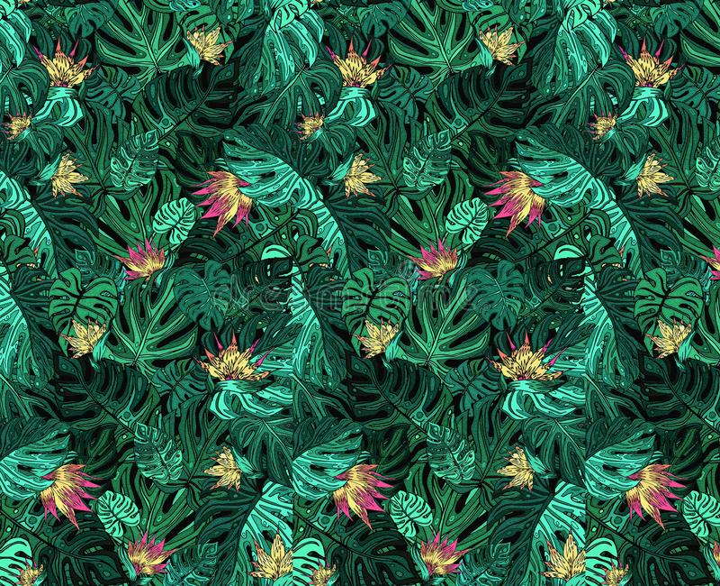 Fond des feuilles tropicales vertes avec les fleurs jaunes images libres de droits
