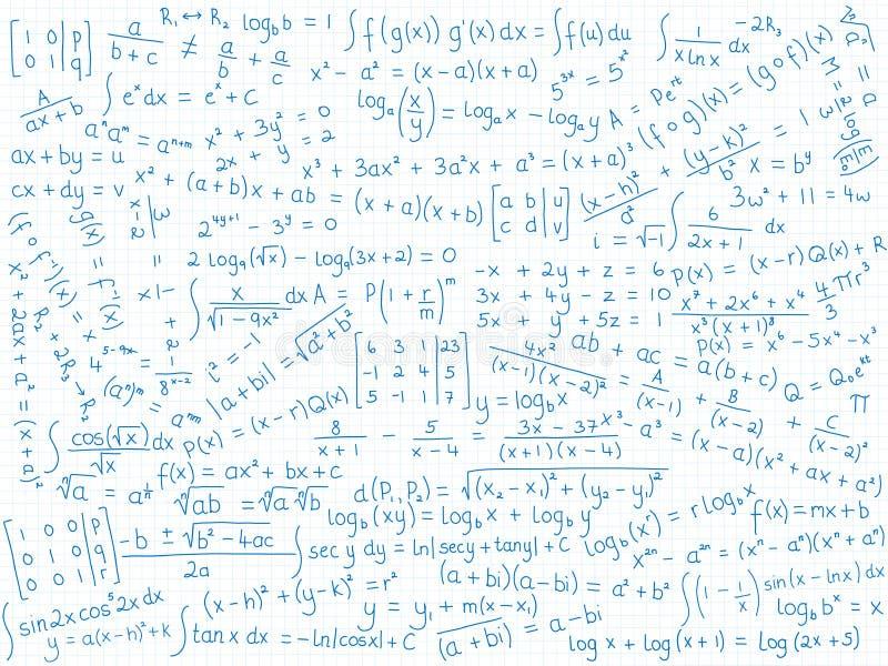 Fond des formules mathématiques sur le papier bordé bleu illustration stock