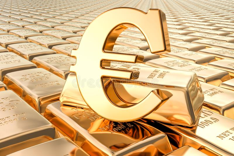 Fond des lingots d'or avec l'euro symbole, rendu 3D illustration libre de droits