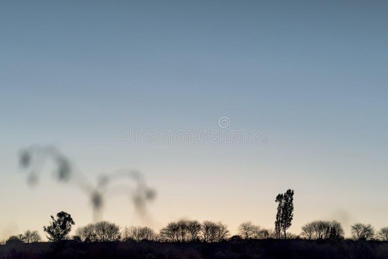 Fond des montagnes et des bois sous le ciel bleu images libres de droits