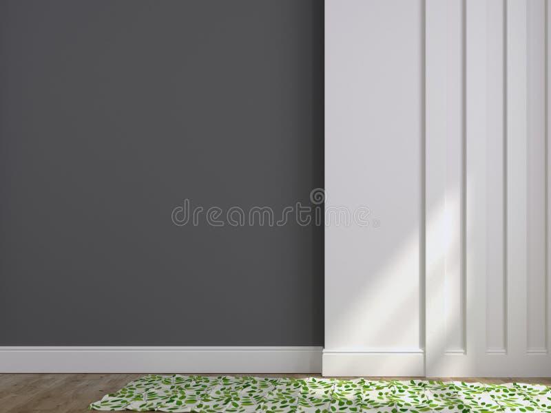 Fond des murs gris et blancs et d'un tapis photos stock