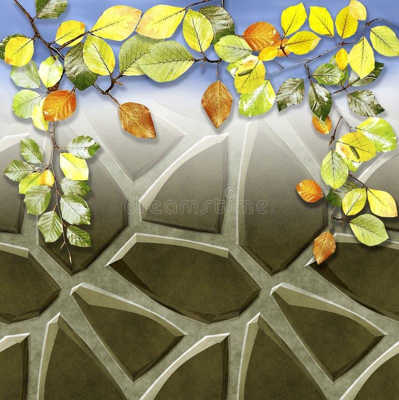 Fond des pierres de plancher de trottoir et des feuilles colorées de hêtre d'automne illustration stock