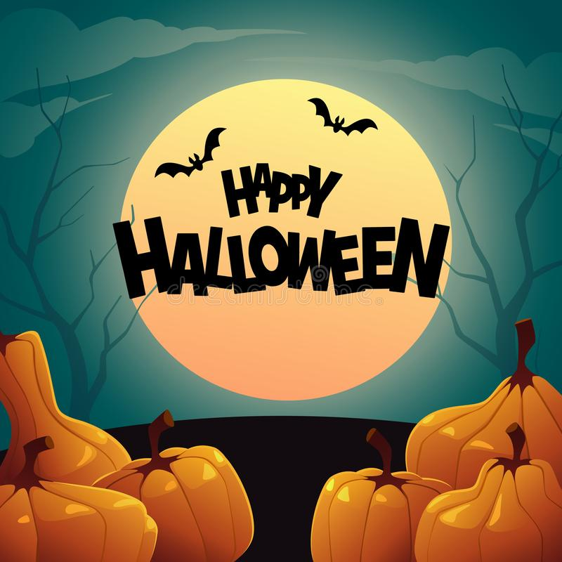 Fond des potirons d'automne oranges Halloween heureux illustration stock