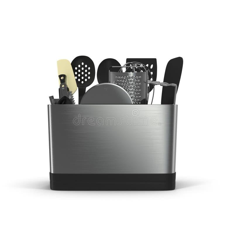 Fond des ustensiles de cuisine sur le blanc illustration 3D illustration de vecteur