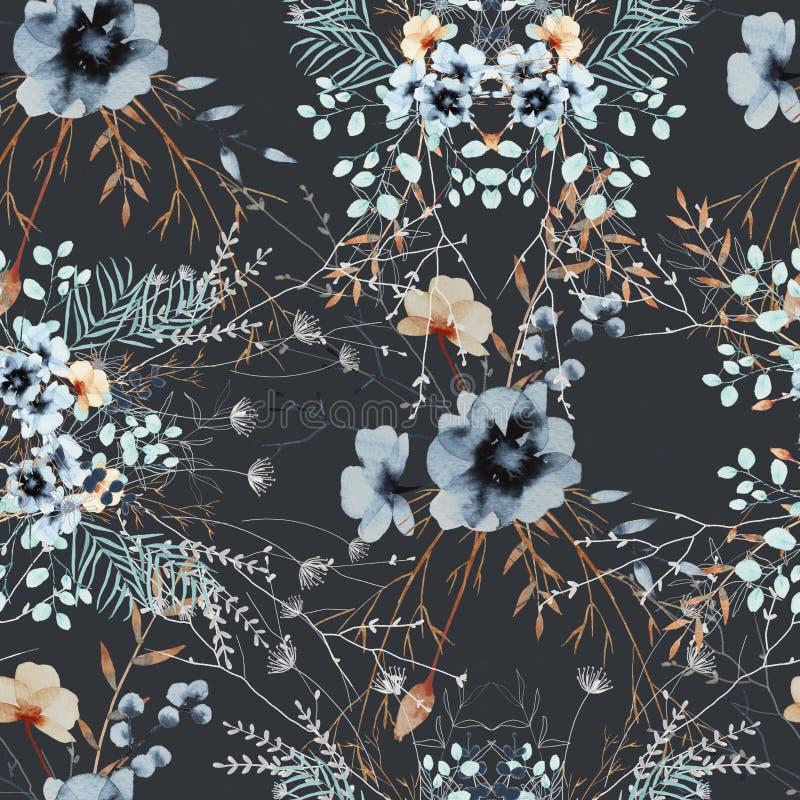 Fond des wildflowers avec des feuilles dans un bouquet Configuration sans joint photo stock