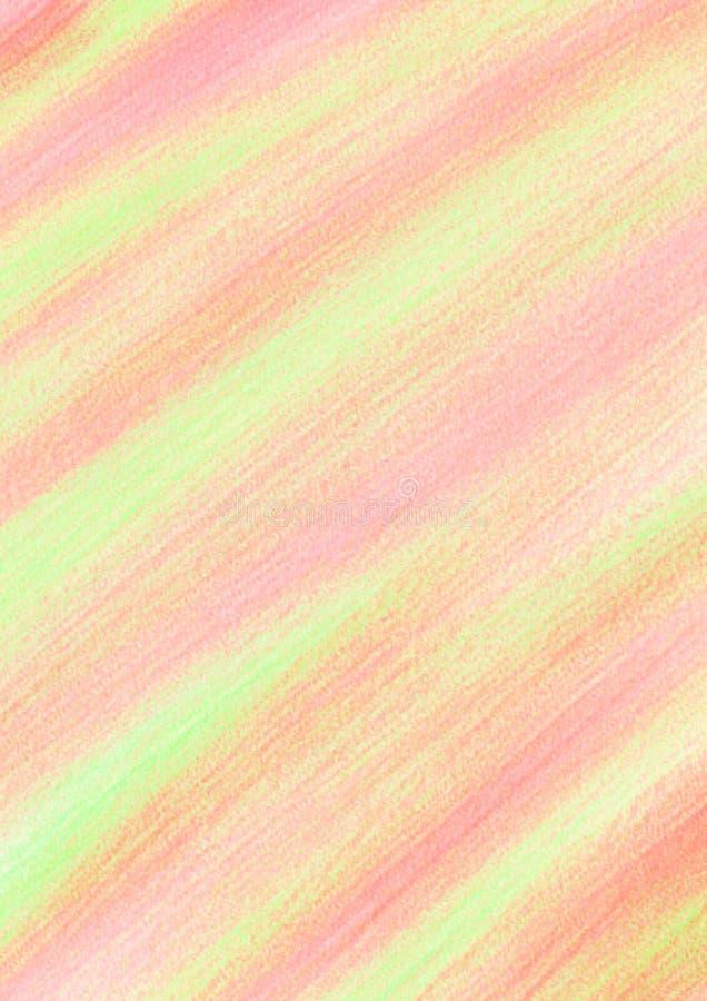 Fond dessiné abstrait en pastel avec des traçages dans des couleurs jaunes, roses, de corail illustration stock