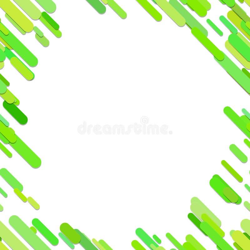 Fond diagonal arrondi chaotique de modèle de rayure - graphique de vecteur à la mode des lignes modifiées la tonalité vertes avec illustration de vecteur