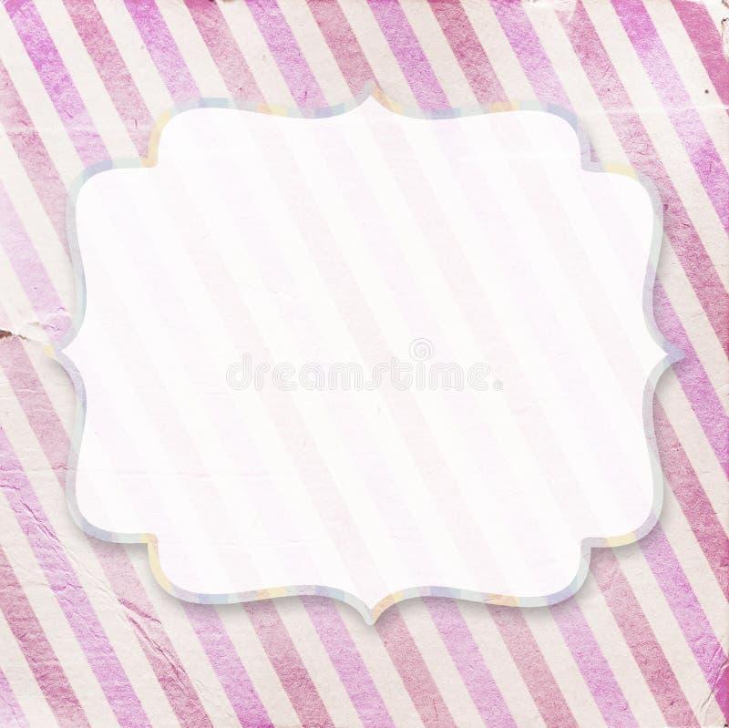 Fond diagonal rose de papier rayé de vintage avec le fram de vintage illustration libre de droits