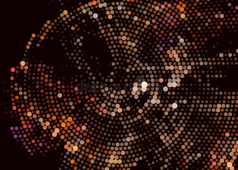 Fond digital abstrait Cercles, points Agrafe art illustration stock