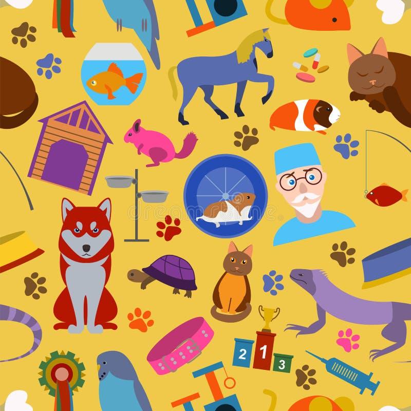 Fond domestique d'animaux familiers Configuration seamless illustration de vecteur
