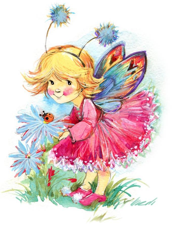 Fond drôle de fée d'enfants Retrait d'aquarelle illustration libre de droits