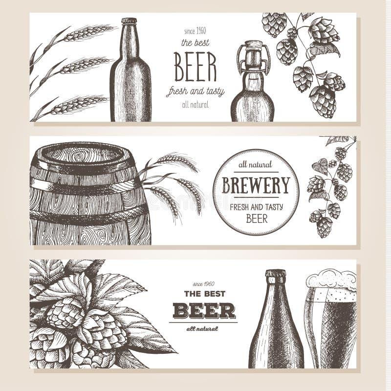 Fond du drapeau Set Illustration de vecteur dans le style de croquis Bannières horizontales de bière tirée par la main Dessin au  illustration libre de droits