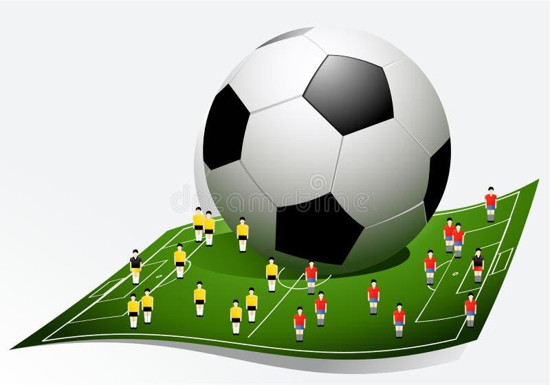 Fond du football avec des joueurs de bande dessinée illustration de vecteur
