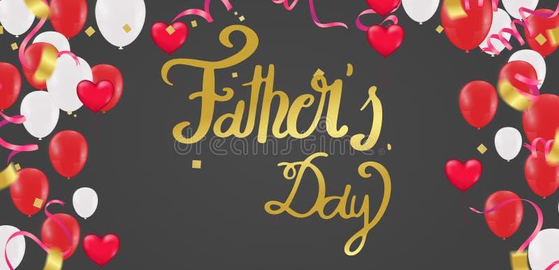 Fond du jour de père, typographie heureuse de jour pour la carte de voeux, affiche de fête etc. Main marquant avec des lettres l' illustration de vecteur