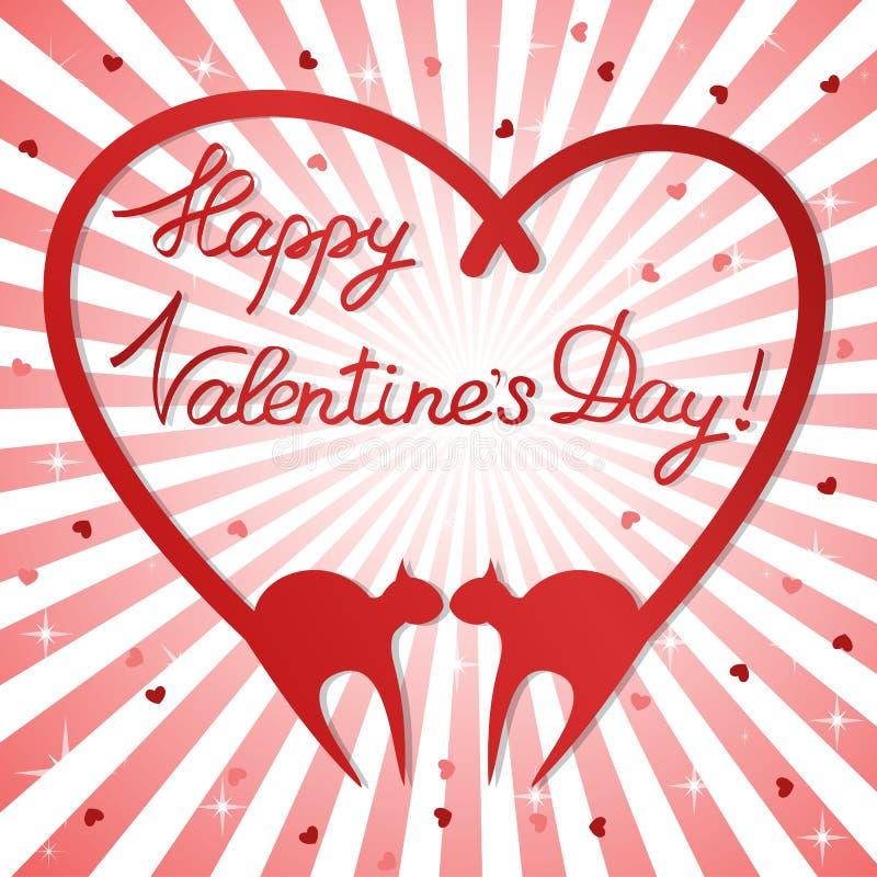 Fond du jour de Valentine avec des chats illustration de vecteur