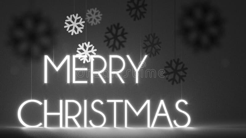 Fond du Joyeux Noël 3d avec 2019 et flocons de neige sur le backgound noir Rétro style de film avec le vieux grain illustration stock
