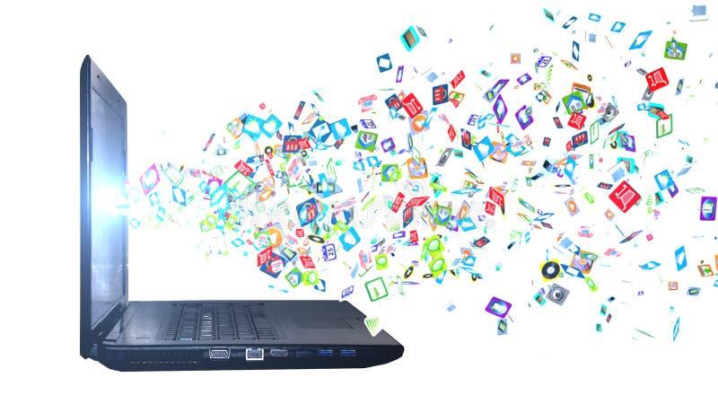 Fond du réseau informatique social d'icônes Graphismes sociaux de réseau illustration libre de droits