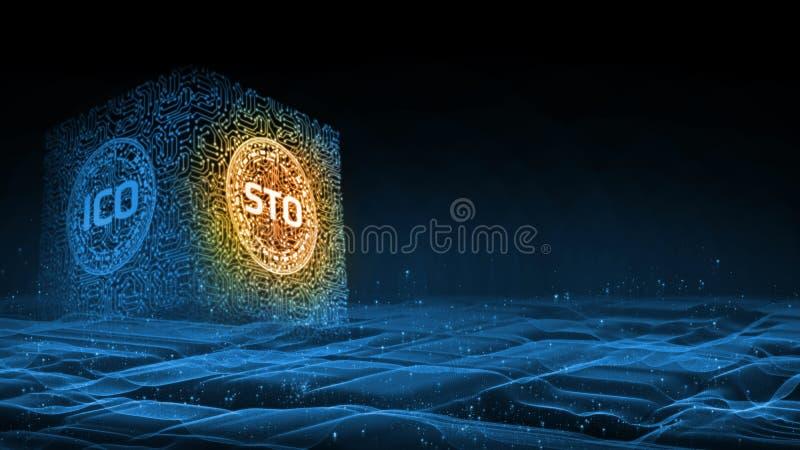 fond du rendu 3D La marque de sécurité offrant STO remplace la pièce de monnaie initiale offrant ICO comme nouvelle technologie d illustration de vecteur