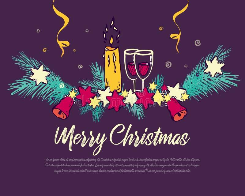 Fond du ` s de vacances avec les souhaits de saison et la frontière des branches d'arbre de Noël décorées de, étoiles, bougie, ve illustration libre de droits