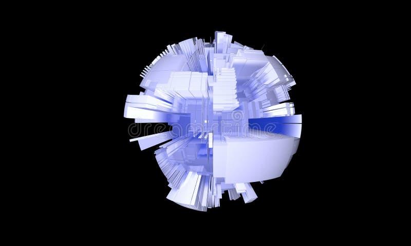 Fond du schéma de circuit de sphère, 3d illustration libre de droits