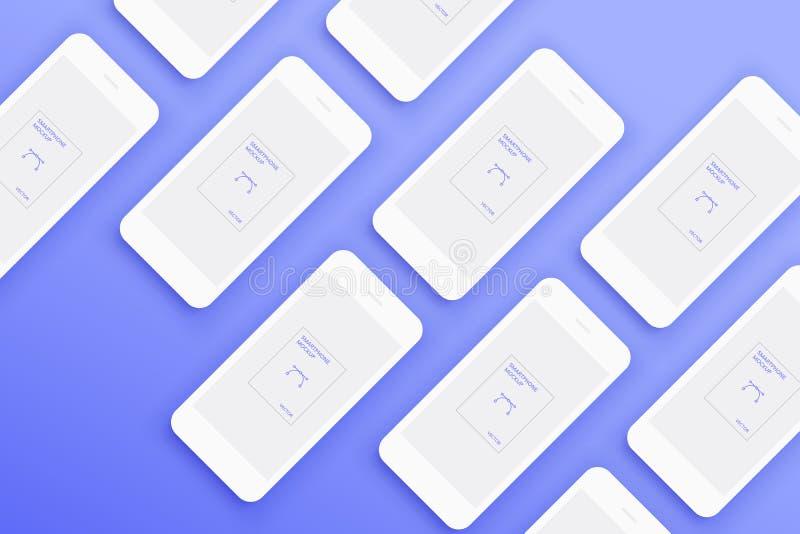 Fond du sort de smartphones blancs de maquettes illustration de vecteur