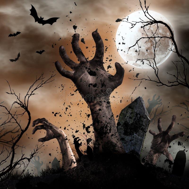 Fond effrayant de Halloween avec des mains de zombi illustration stock
