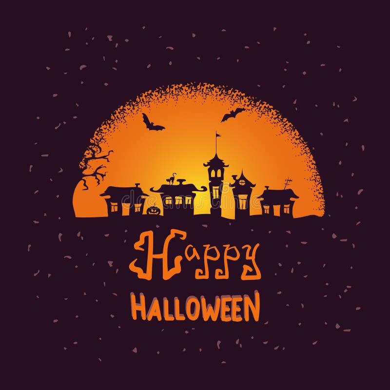Fond effrayant de vecteur de nuit de Halloween avec la lune illustration de vecteur