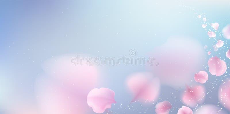 Fond en baisse de pétales roses de Sakura illustration de vecteur