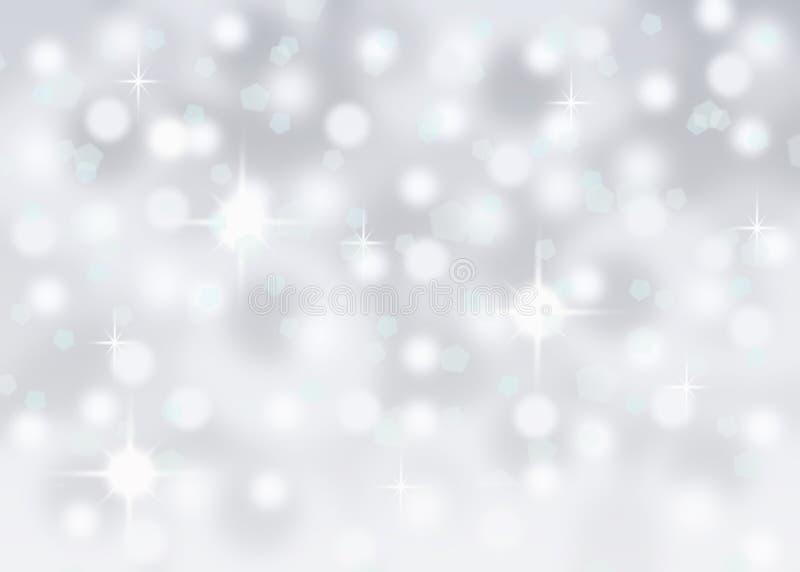 Fond en baisse de vacances de Noël d'hiver de neige abstraite argentée de bokeh photos stock