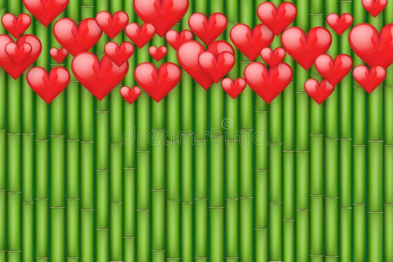 Fond en bambou avec les coeurs rouges illustration libre de droits