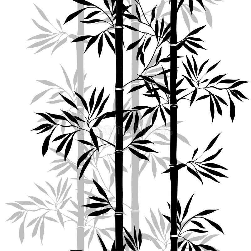 Fond en bambou de lame texture sans couture florale avec des feuilles illustration libre de droits