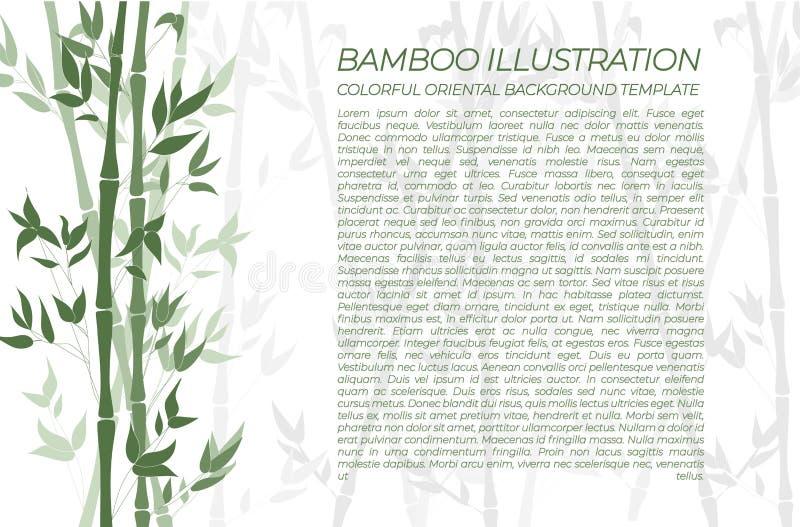 Fond en bambou naturel de vecteur, bannière colorée verte horizontale, échantillon des textes illustration stock