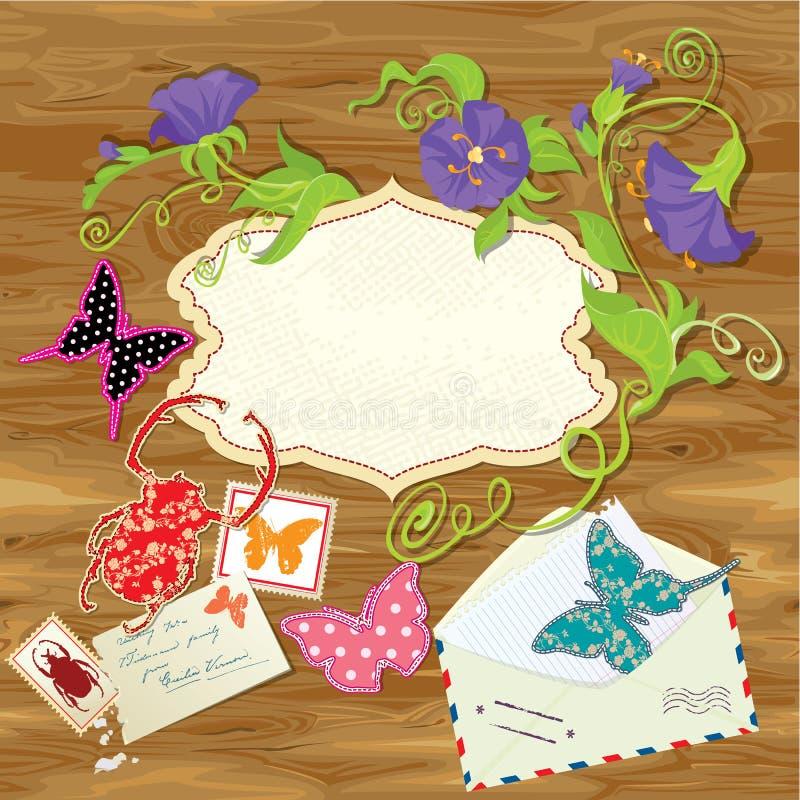 Fond en bois avec des papillons, scarabée, fleur illustration de vecteur