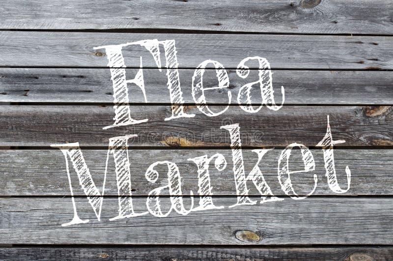 Fond en bois avec le marché aux puces photo stock