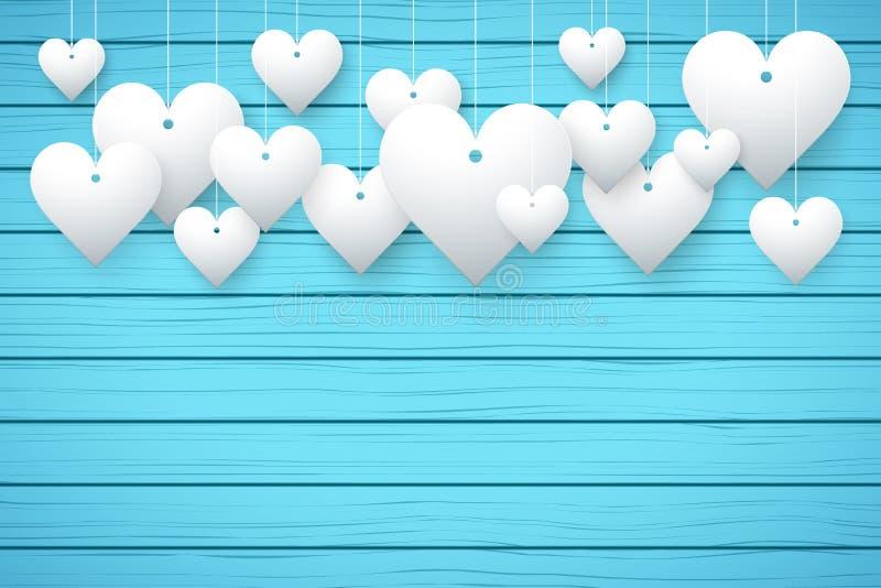 Fond en bois avec les coeurs blancs illustration stock