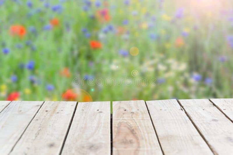 Fond en bois d'été avec le contexte de pré de nature et espace vide sur le bois photographie stock