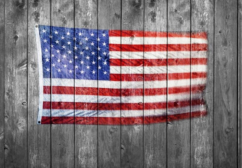 Fond en bois de drapeau américain image libre de droits