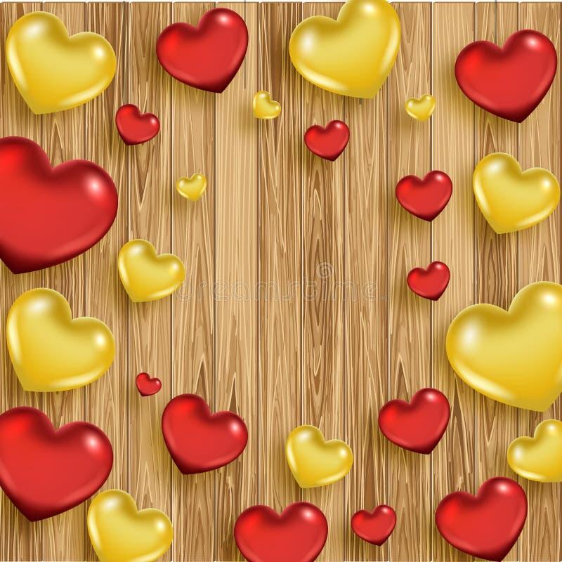 Fond en bois de jour du ` s de Valentine avec des coeurs illustration de vecteur