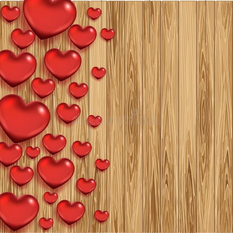 Fond en bois de jour du ` s de Valentine avec des coeurs illustration libre de droits