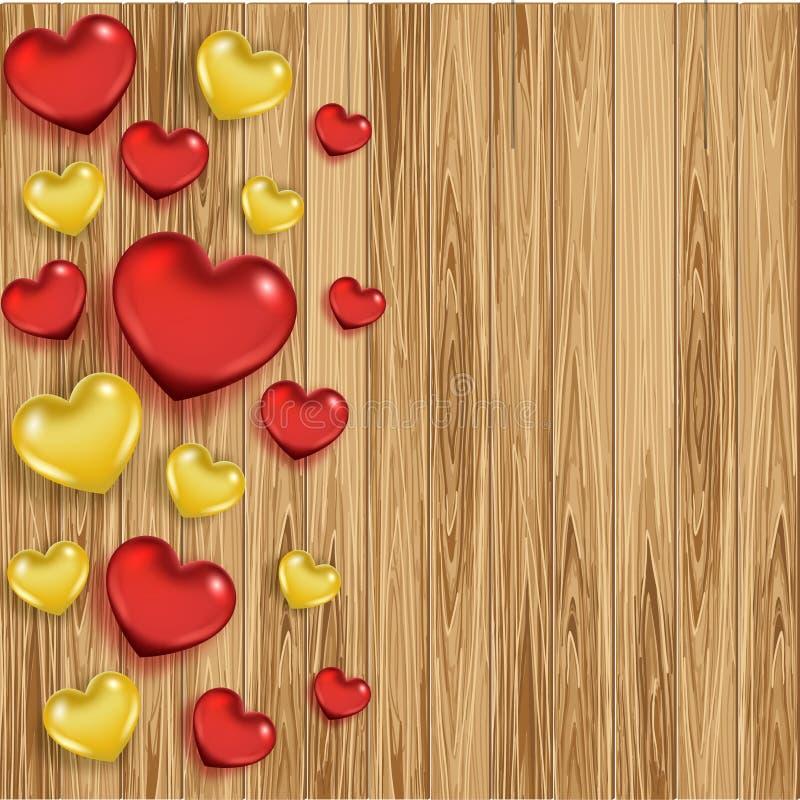 Fond en bois de jour du ` s de Valentine avec des coeurs illustration stock