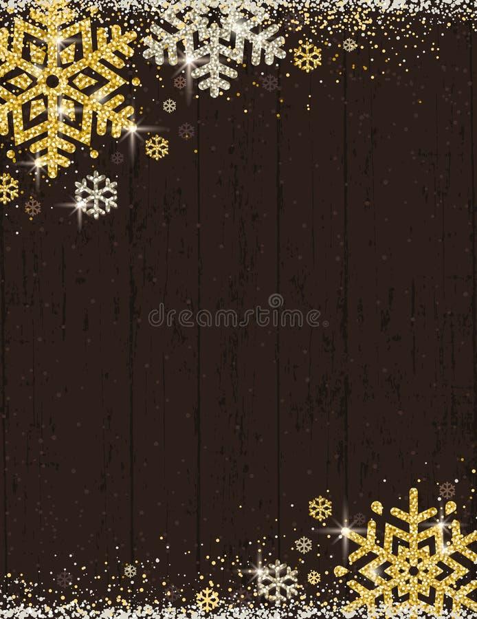 Fond en bois de Noël de Brown avec le cadre d'or et du silve illustration libre de droits