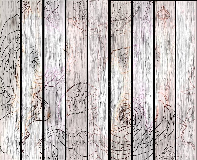 Fond en bois de texture avec des fleurs illustration libre de droits